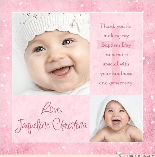modern girl baptism thank you card