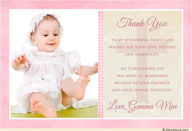 single photo christening thank you