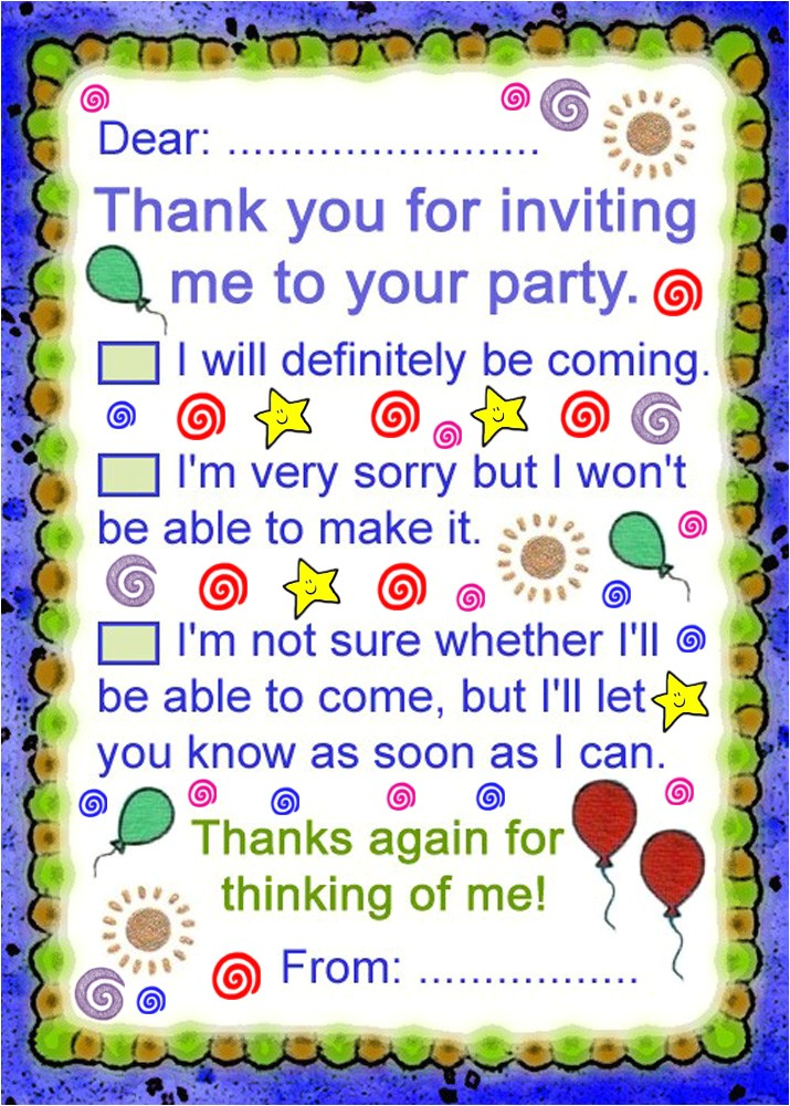 thank you note party answer