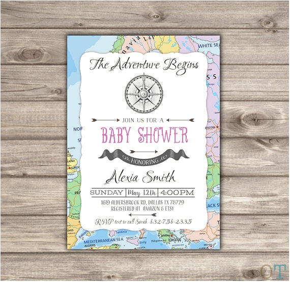 adventure begins baby shower invitations