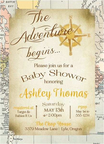 the adventure begins baby shower invitation