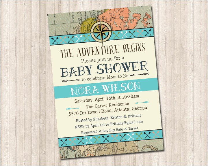 the adventure begins shower invitation