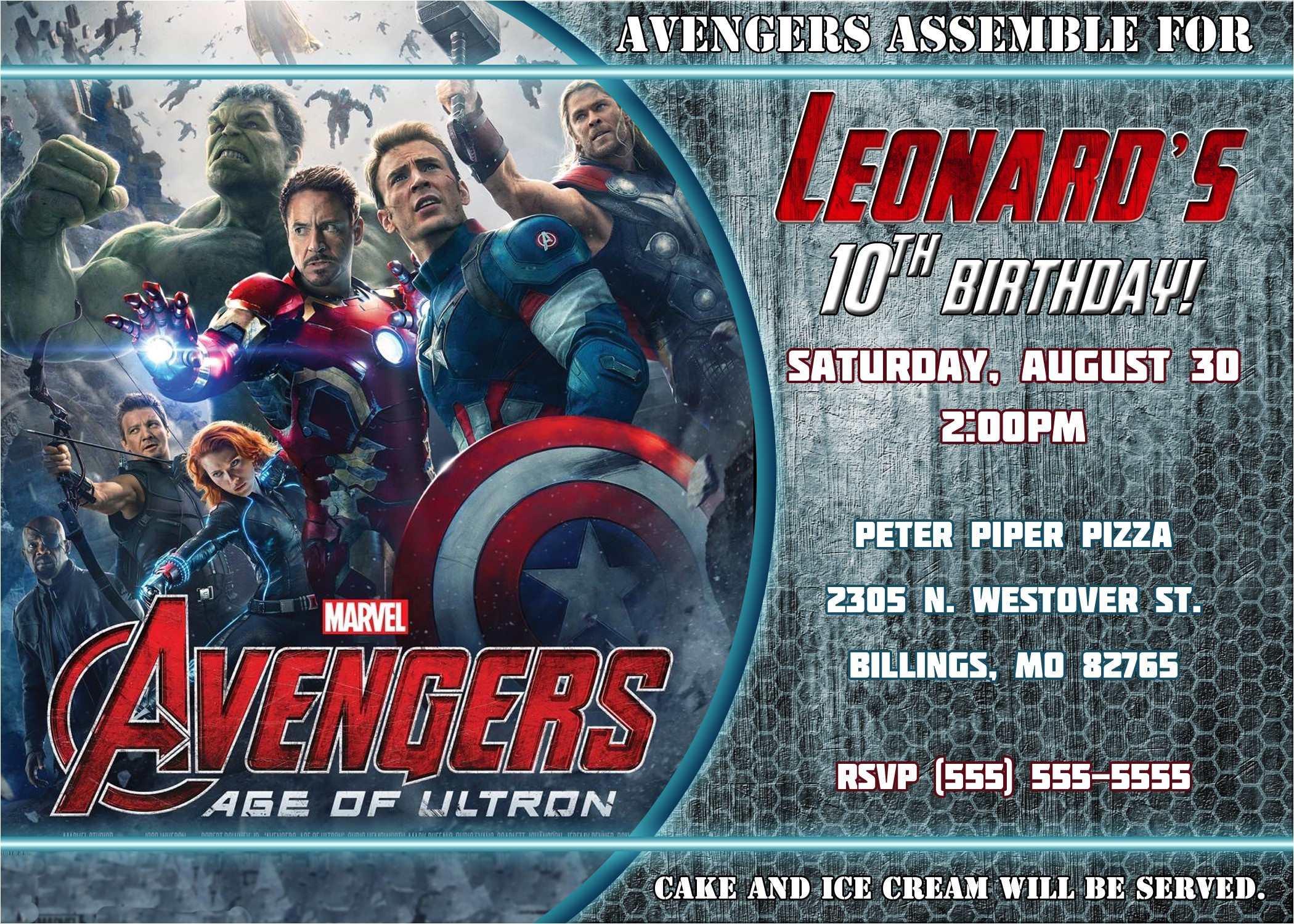 avengers birthday invitation