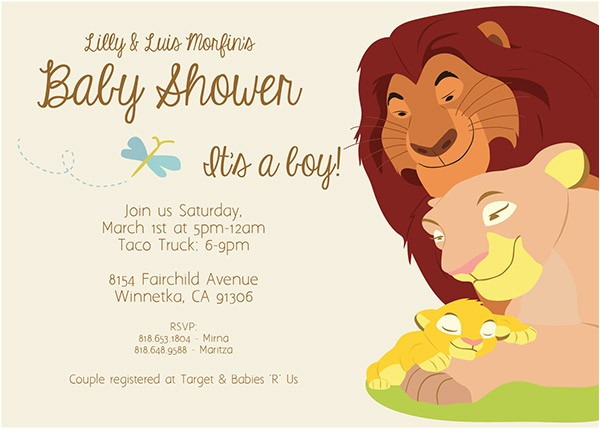 Lion King Baby Shower Invitation