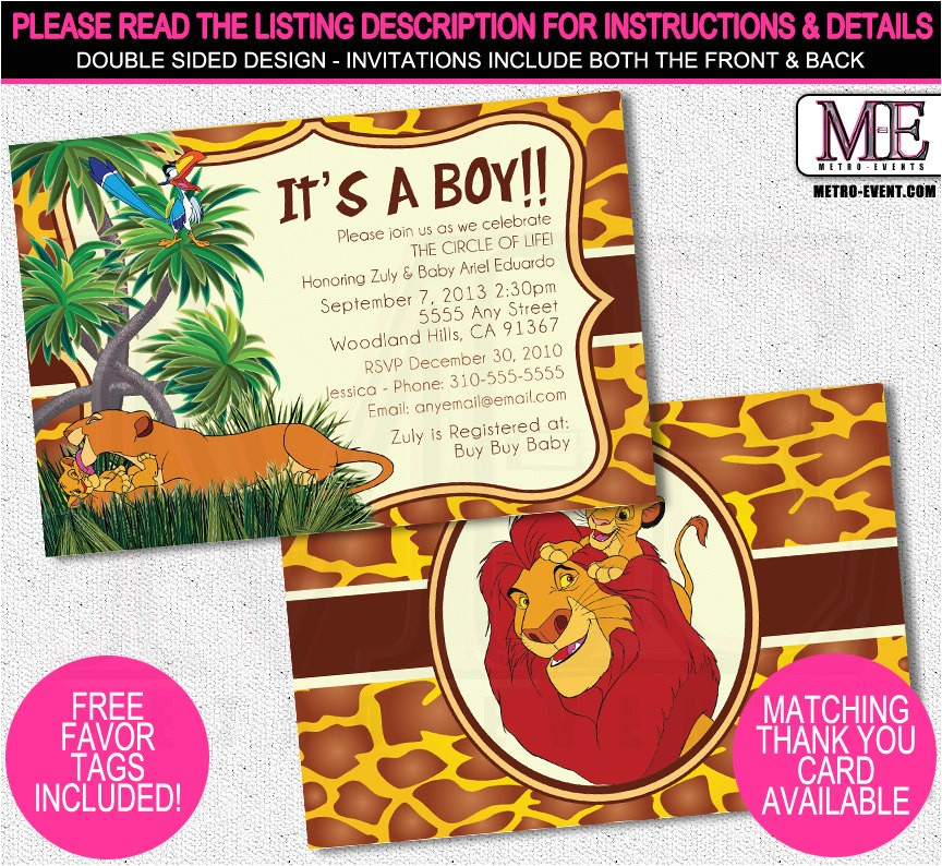 lion king baby shower invitations