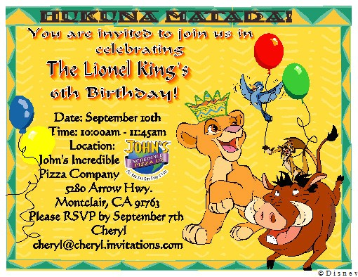 lion king birthday party invitations
