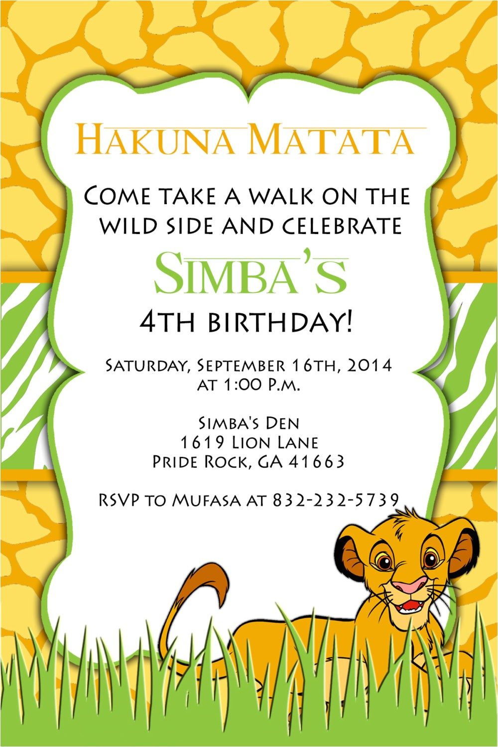 printable invitation lion king birthday