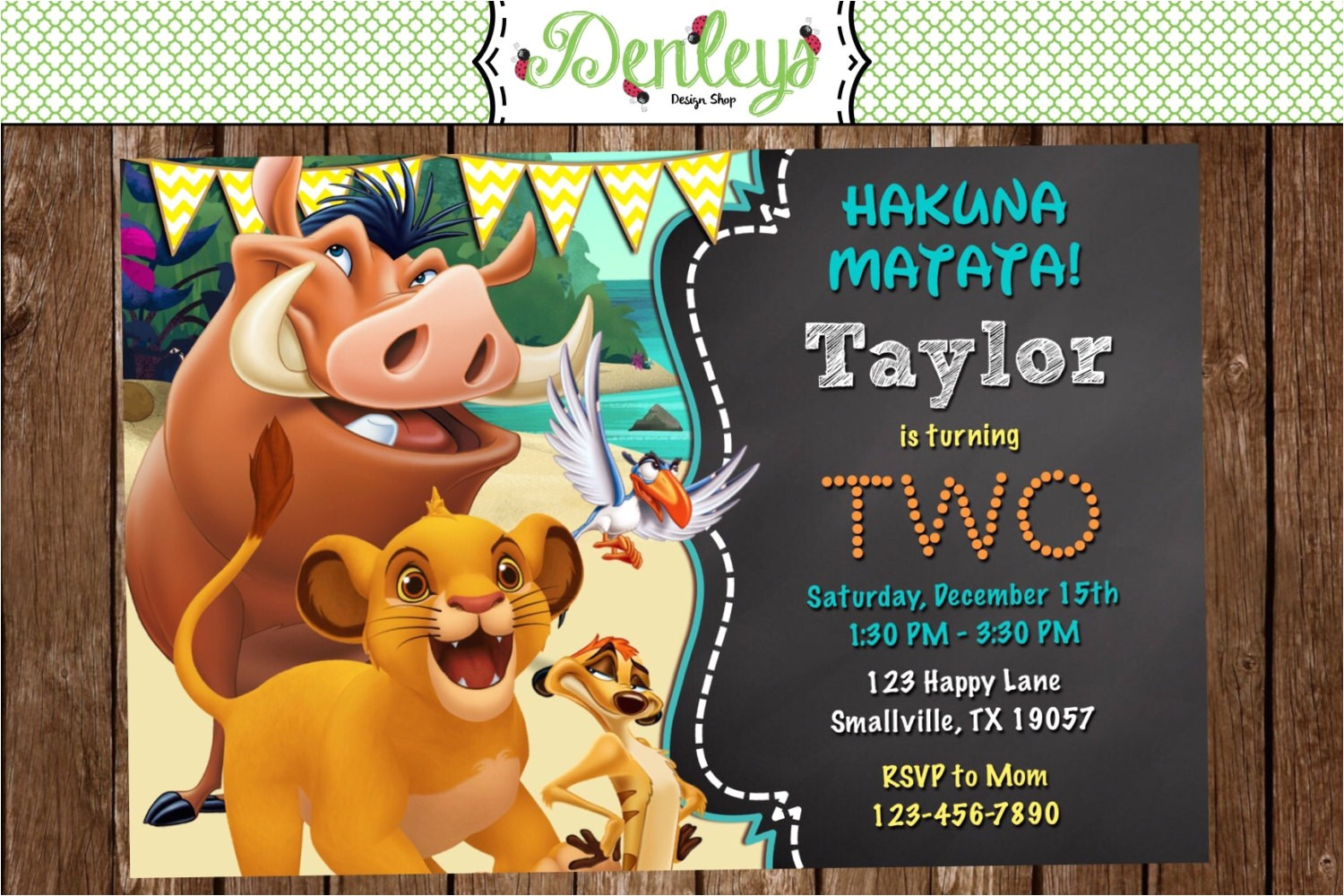 lion king birthday invitation lk01