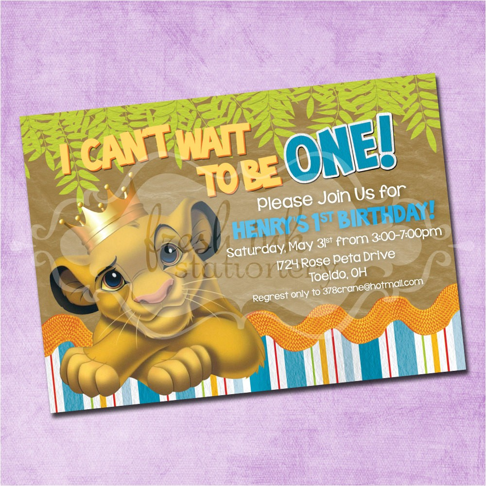 simba lion king birthday invitation