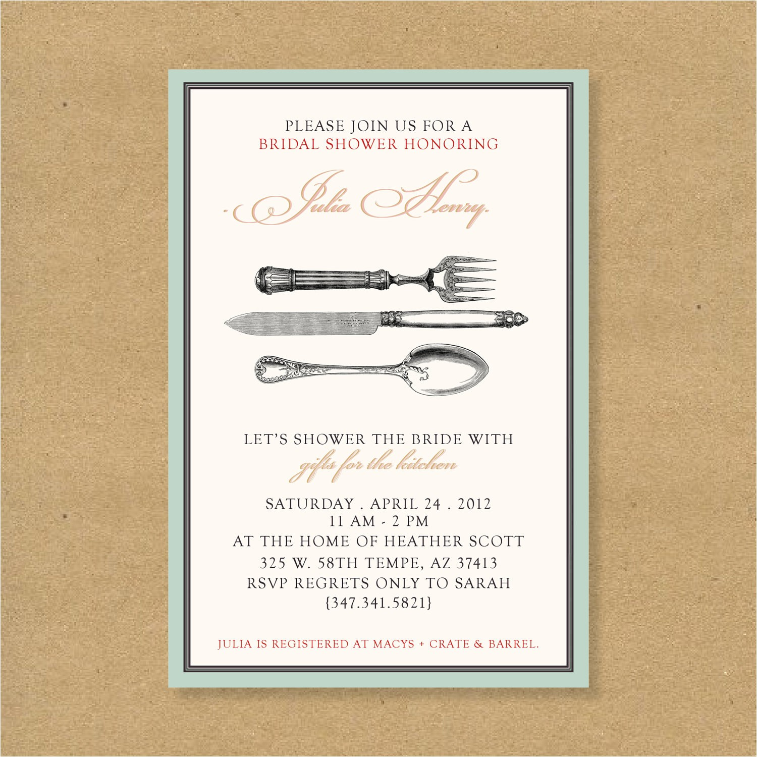 bridal or wedding shower invitation