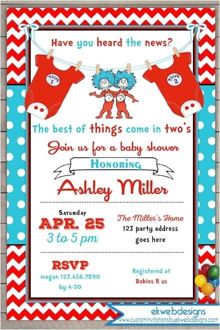 thing 1 thing 2 baby shower invitation twins baby shower invite