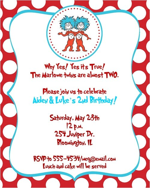 dr seuss thing 1 thing 2 birthday party