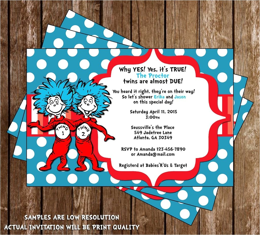 thing 1 and thing 2 twins baby shower invitation
