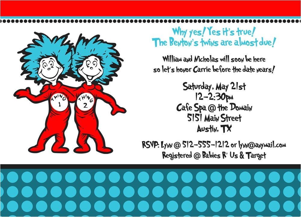 Thing One and Thing Two Baby Shower Invitations Thing 1 and Thing 2 Baby Shower Invitation by Freshlycutcards
