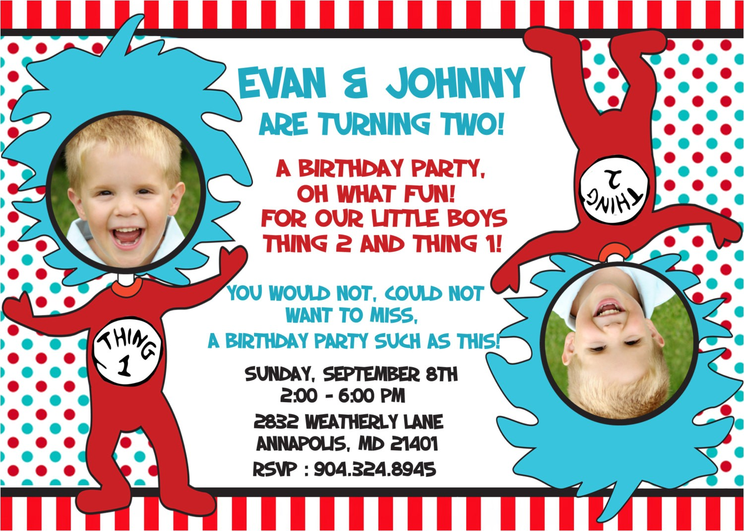 dr seuss thing 1 thing 2 twins birthday