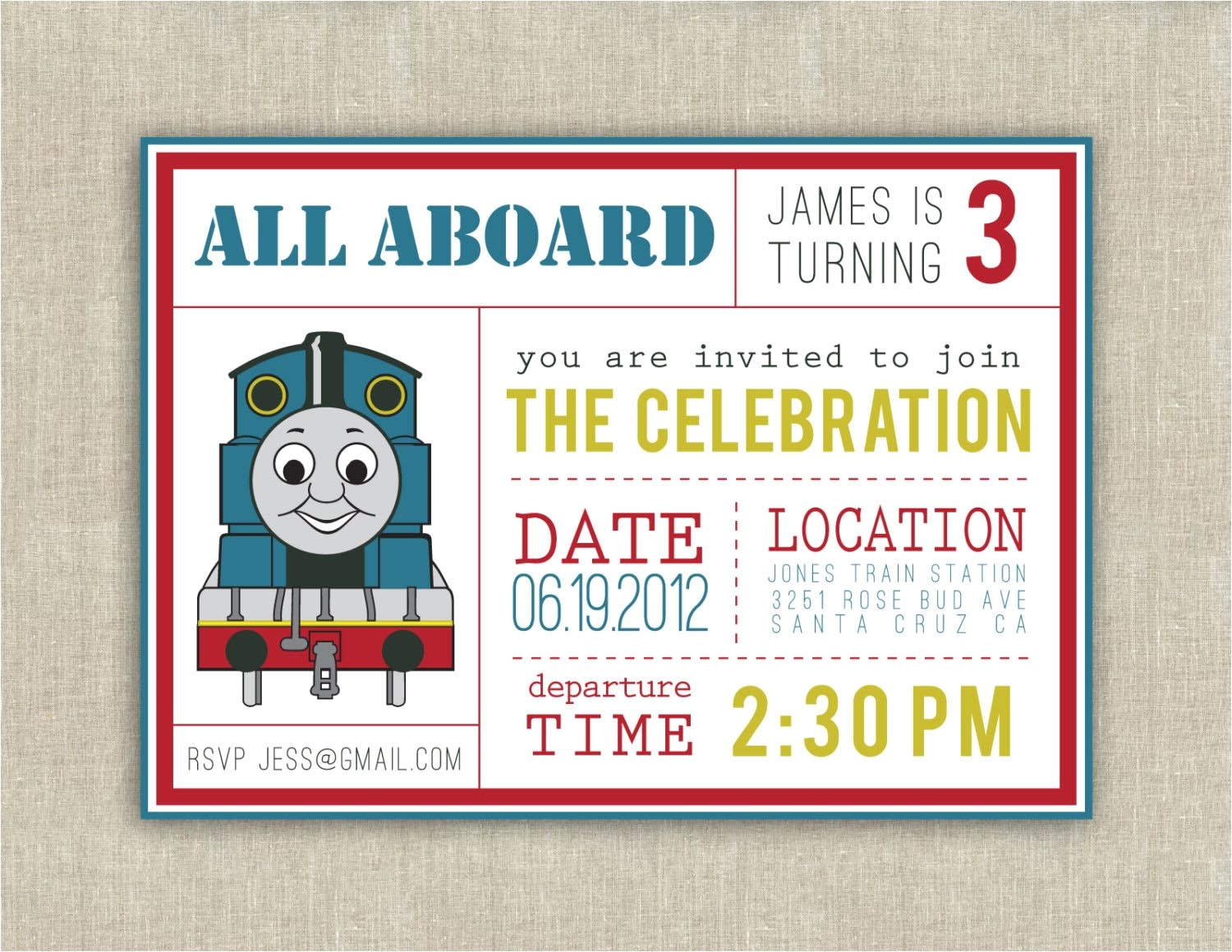 thomas the train birthday invitations
