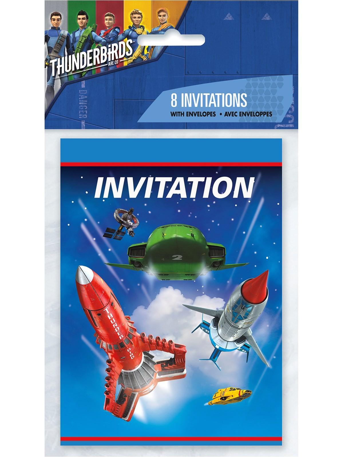 thunderbirds party invitations envelopes 8pk