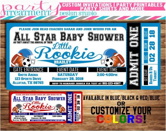 all star sports baby shower ticket