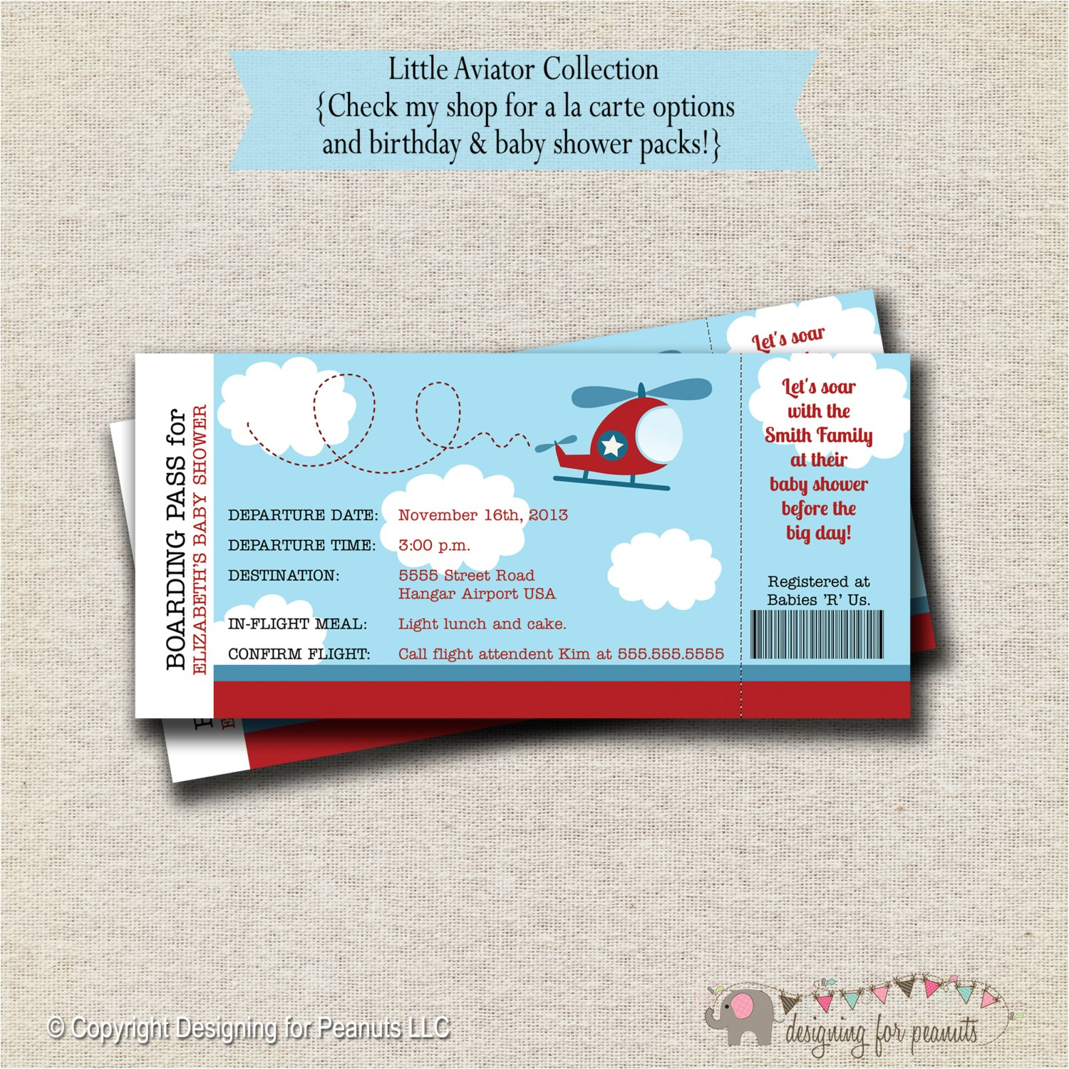 helicopter ticket invitation baby shower