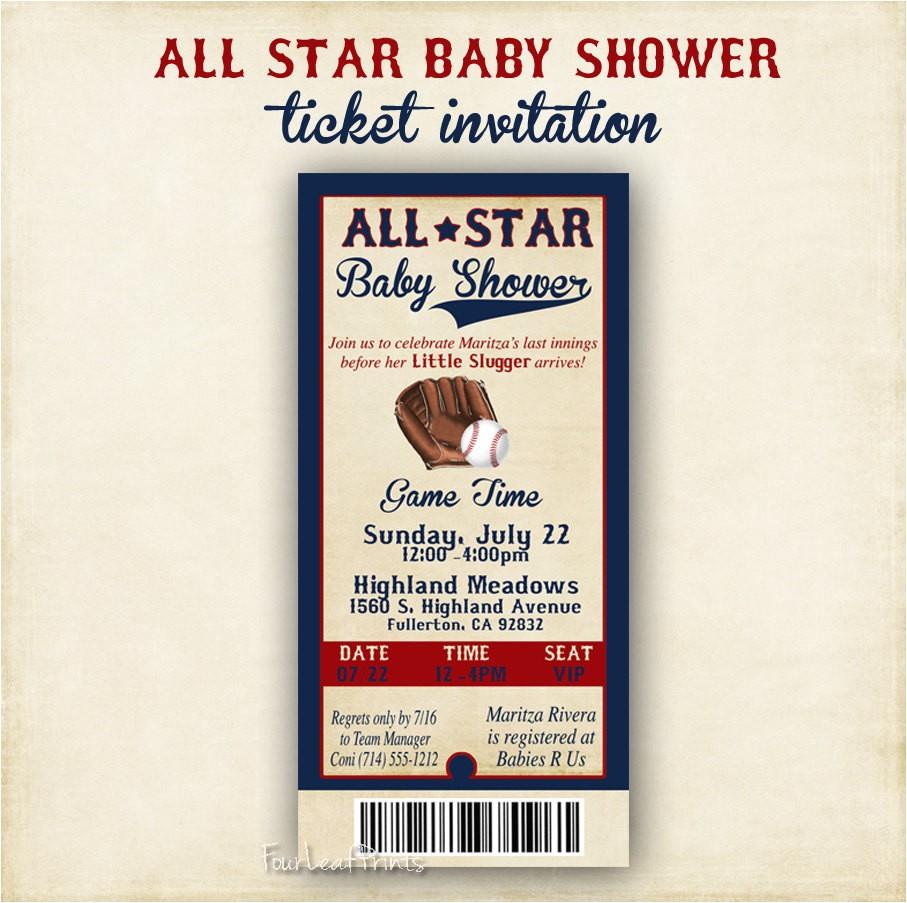 all star baby shower 4x8 ticket