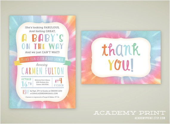 printable tie dye baby shower invitation