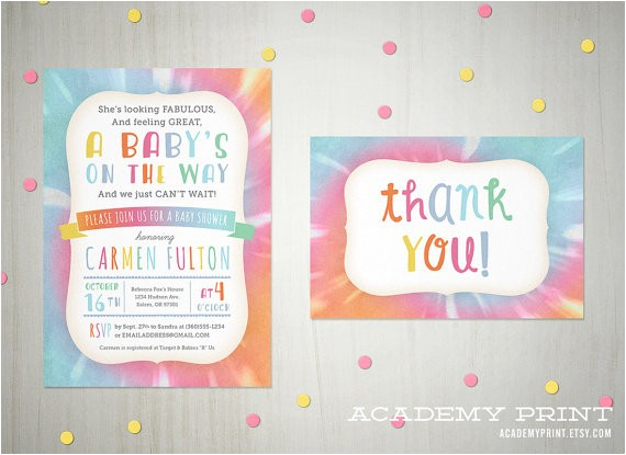 Tie Dye Baby Shower Invitations Printable Tie Dye Baby Shower Invitation and Thank You Note