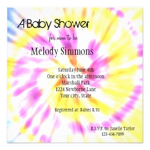 tie dye baby shower invites
