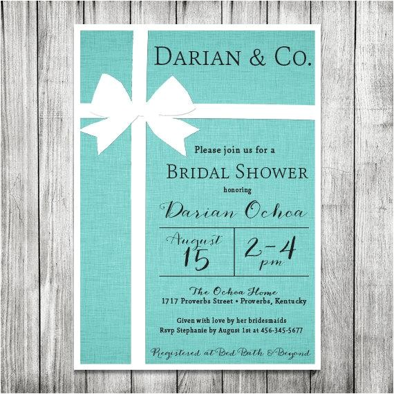 bridal shower invitation tiffany co inspired tiffany blue invite 5x7