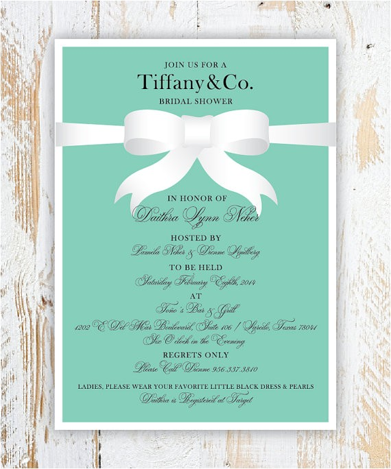 tiffany co bridal shower invitations