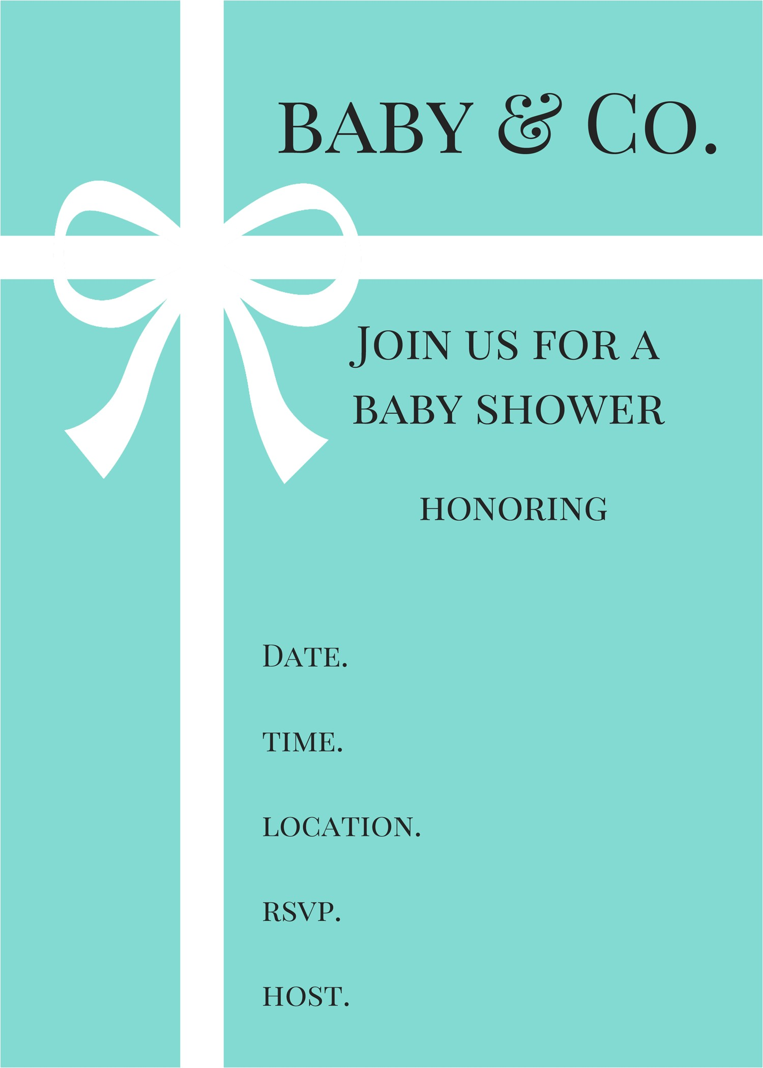 Tiffany and Company Baby Shower Invitations Tiffany Blue Baby Shower Invitations