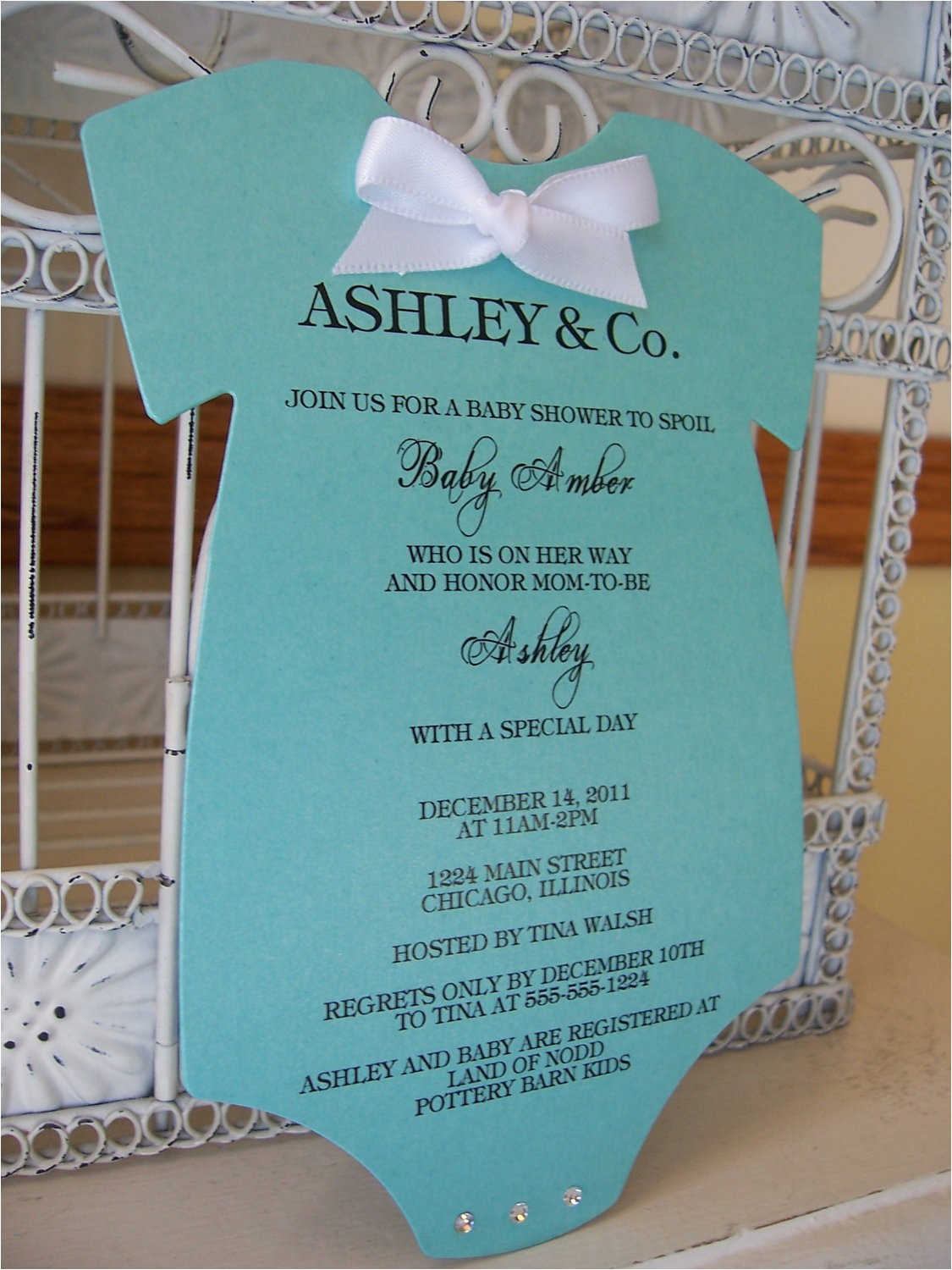 tiffany onesie baby shower invitations