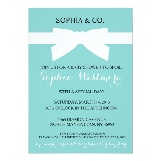 tiffany blue bow baby shower invite