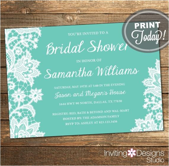 lace bridal shower invitation wedding shower invitation lace aqua tiffany blue white printable file custom order instant
