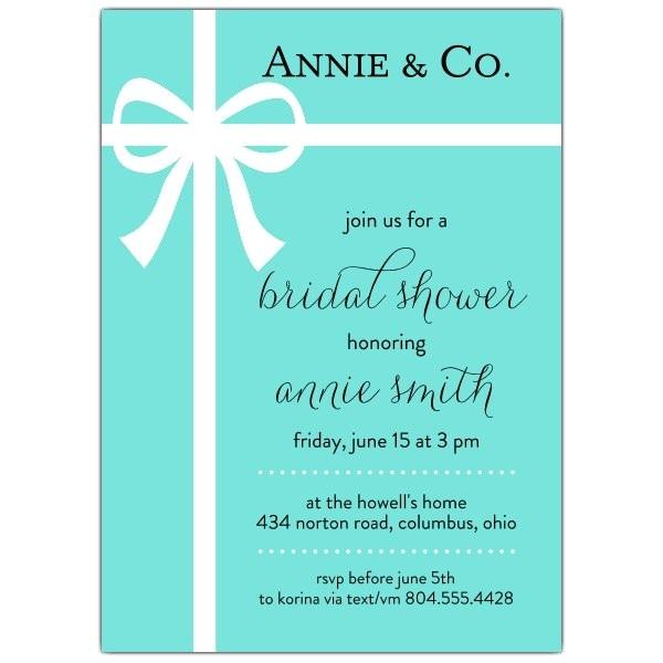 Tiffany Blue Bow Bridal Shower Invitations p 605 57 PS563