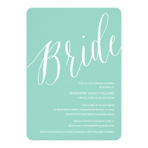 tiffany blue calligraphy bridal shower invitations