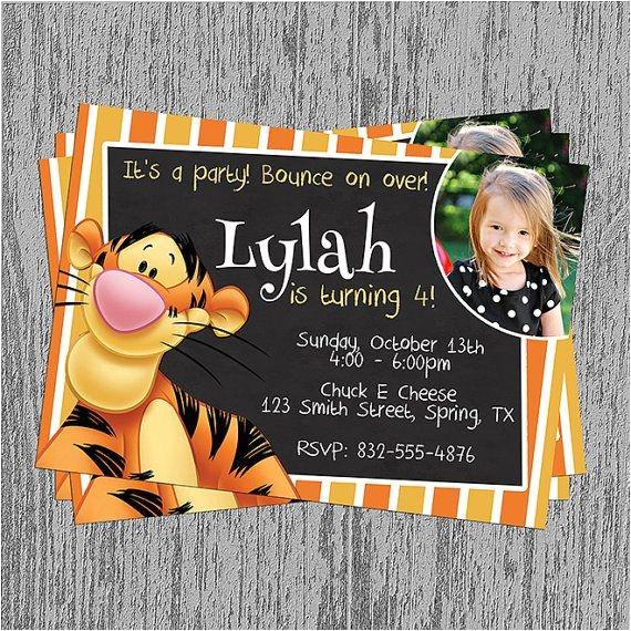 Tigger 1st Birthday Invitations Tigger Birthday Invitation Digital File by