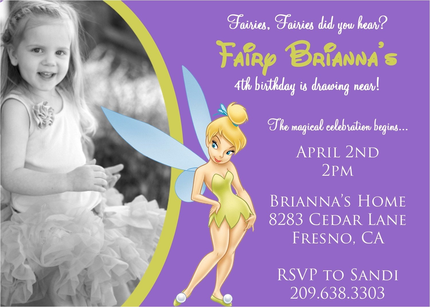 tinkerbell birthday invitation with
