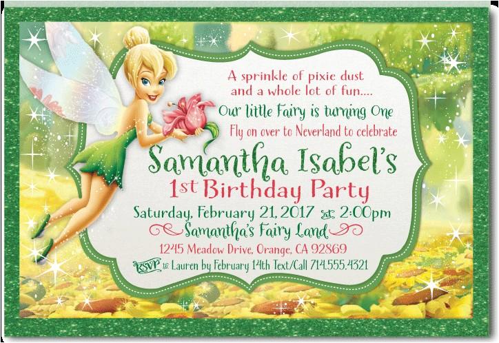 tinkerbell birthday invitation p 2630
