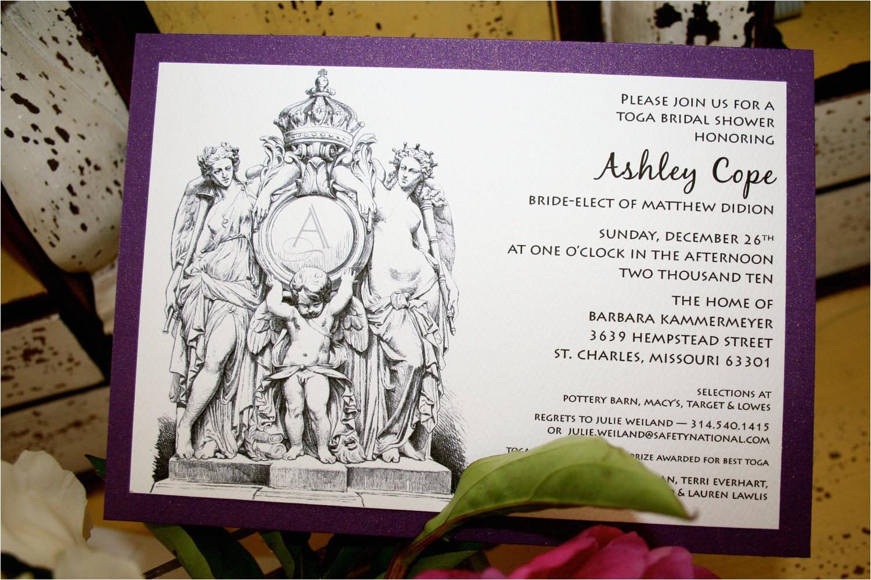 greek toga party invitation bridal