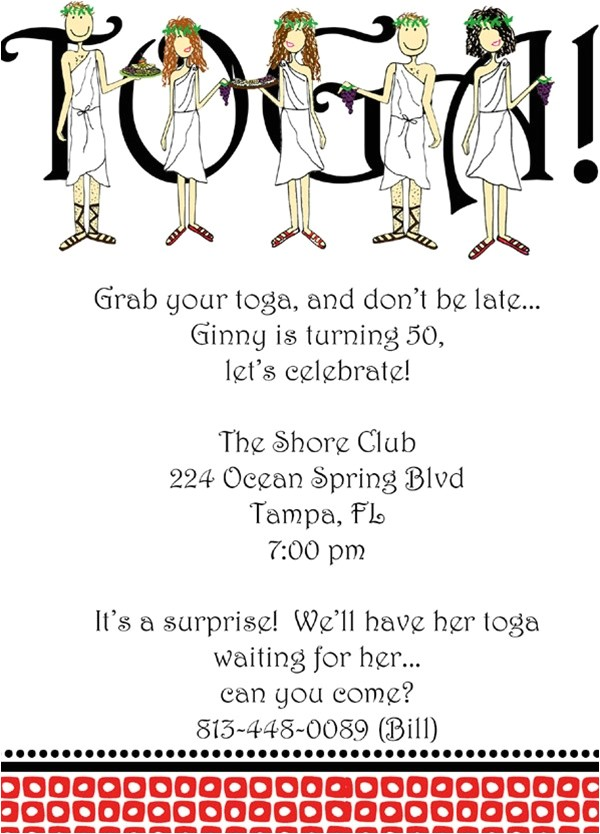 Toga Party Invitations Wording toga Party Invitation L Pj Greetings