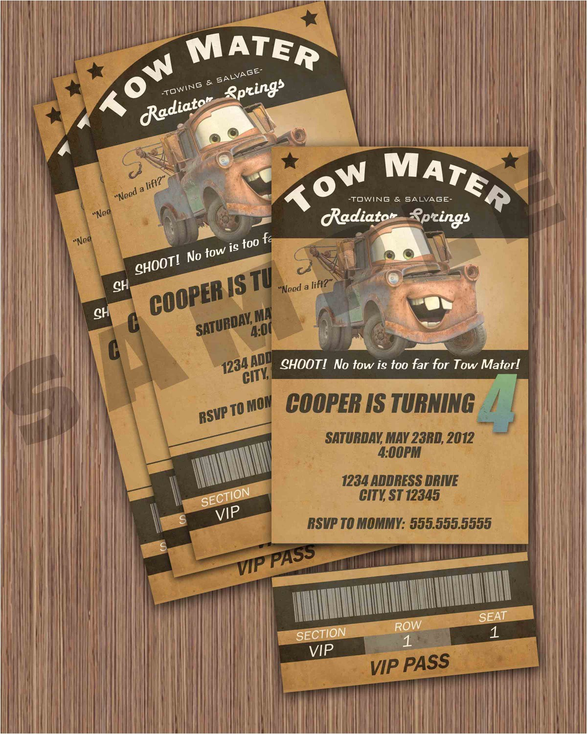 tow mater ticket invitation
