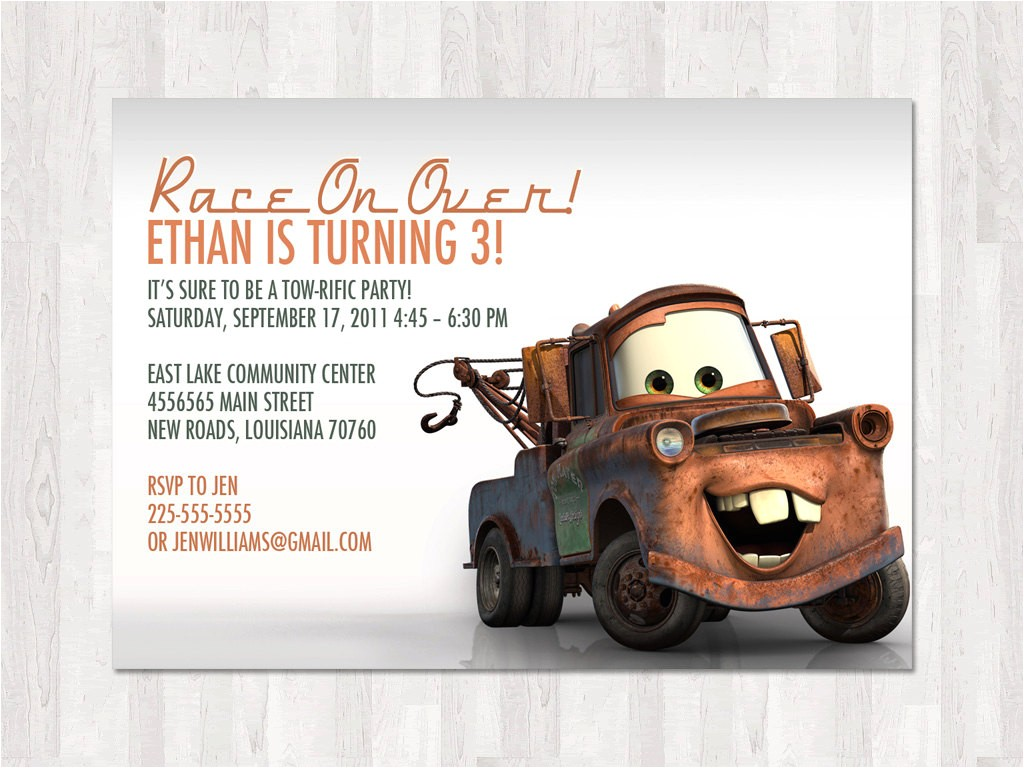 Tow Mater Birthday Invitations Party City Mater Invitation Party Invitations Ideas