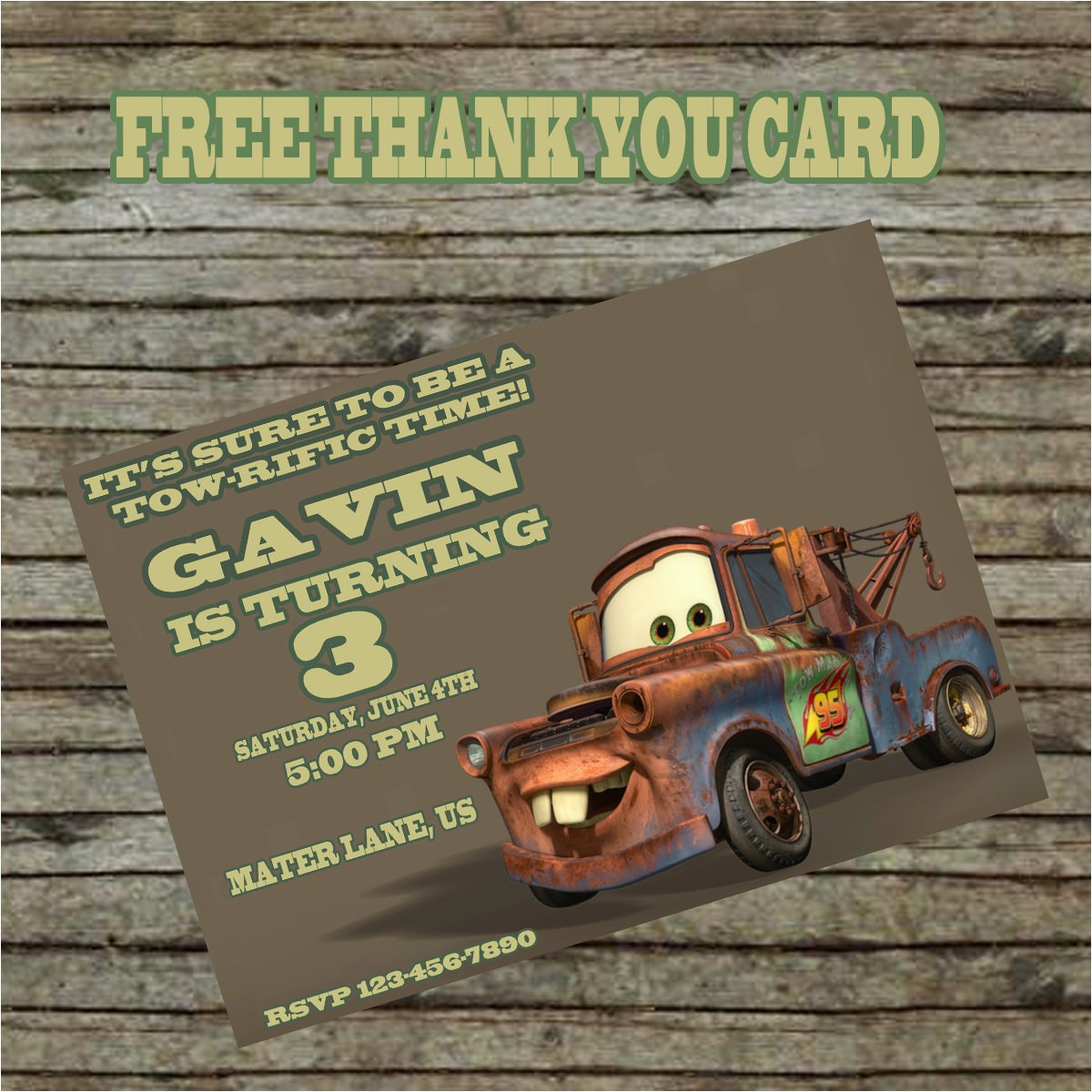 tow mater birthday invitation diy custom