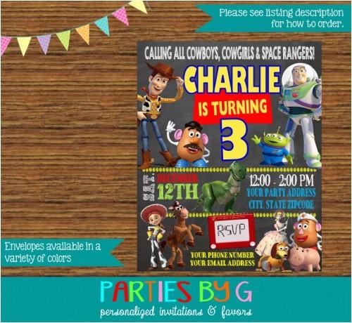 toy story chalkboard birthday party invitations personalized custom