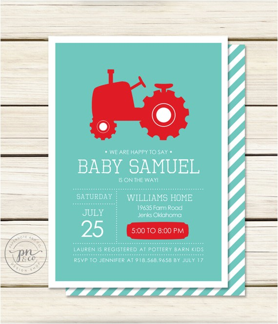 tractor baby shower invitation baby