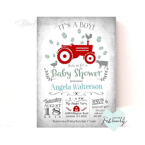 red tractor baby shower invitation boy