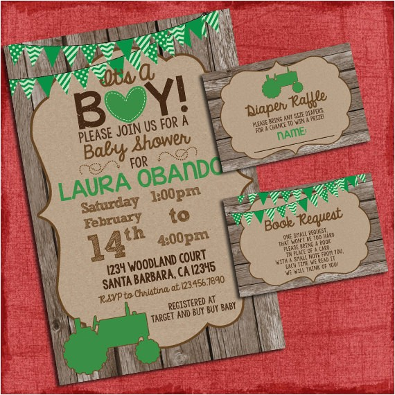 tractor baby shower invitation set with