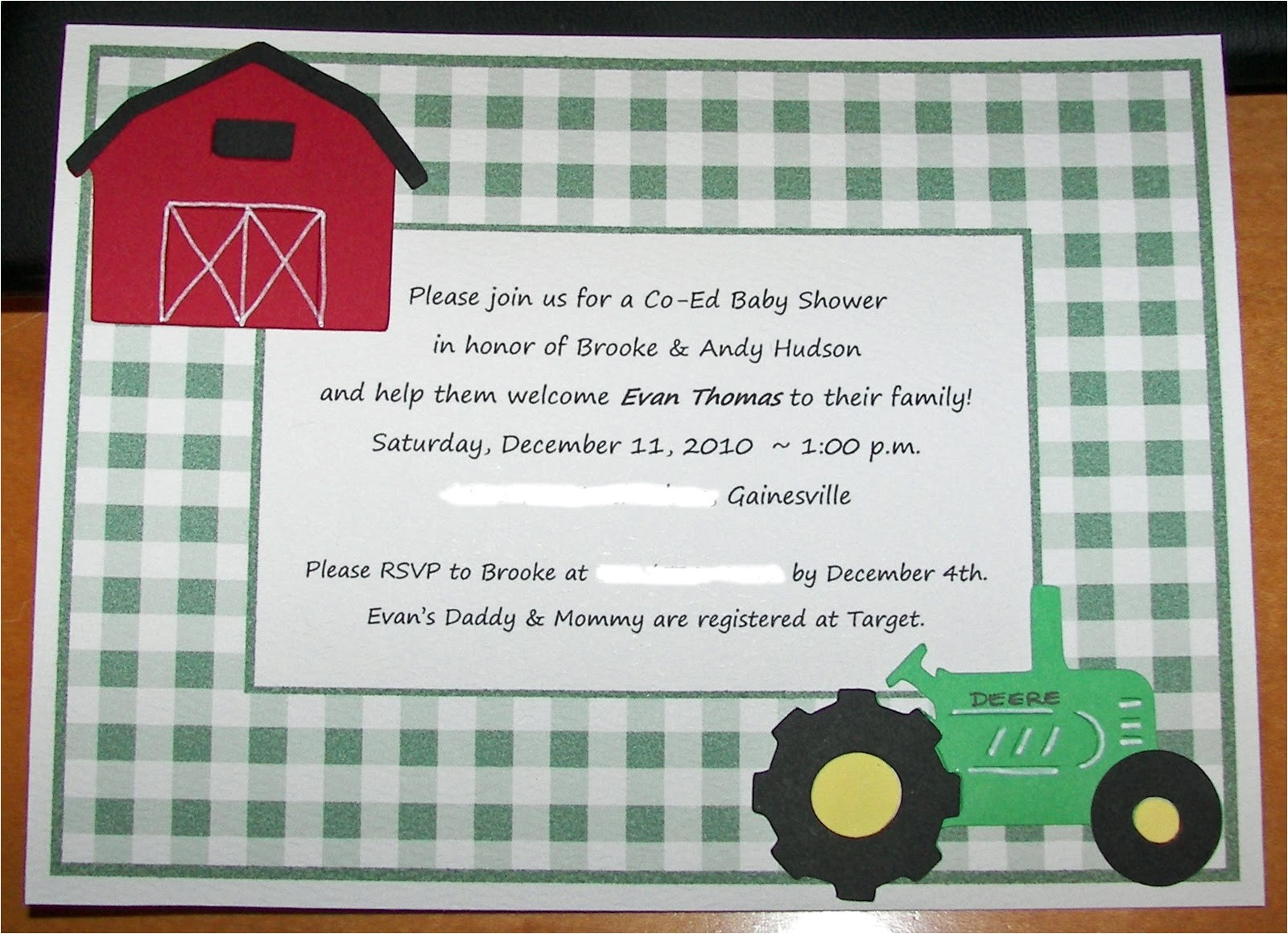 tractor baby shower invitations