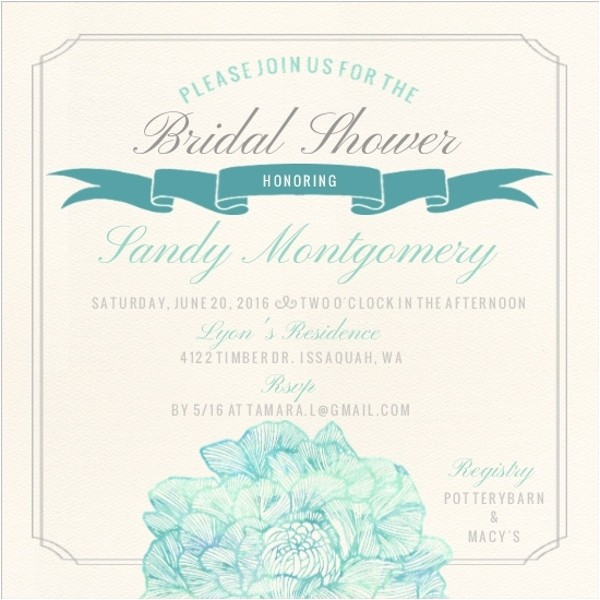 traditional elegance bridal shower invitation