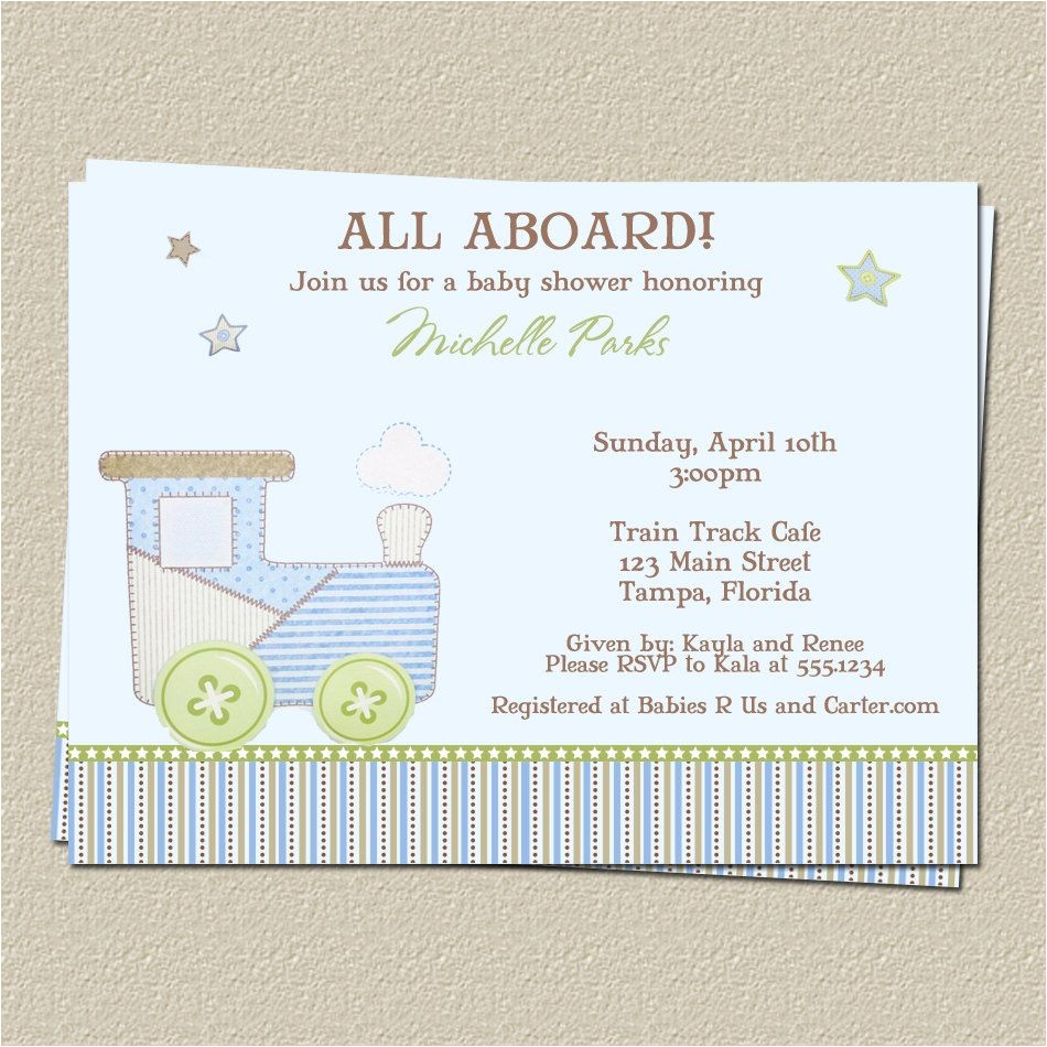 Train themed Baby Shower Invitations Train Baby Shower Invitations for Choo Choo or Carter